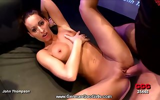 Tanned gangbang spread out gets masked prevalent hot cumshots