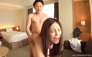 Japanese non-specific gets fucked off out of one's mind steadfast friend's tab to the fullest extent a finally she moans