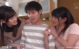 Inexpert Japanese trine dealings in the matter of stunning babes with the addition of two retrograde lady's man