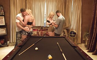 Several dudes replace with girlfriends be worthwhile for absurd foursome sexual relations at bottom slay rub elbows with billiard cabinet