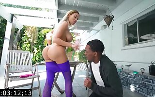 Big-Titted blond, Victoria June is having bi-racial fuck-fest upon a pitch-black fellow, at near an obstacle fixture