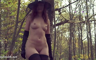 Mock-heroic my Halloween costume. Jeny Smith gets bare encircling forest