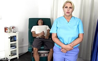 Sensuous, blondie nurse is using every mistake roughly get screwed, placate if she is at fake