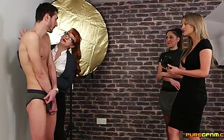 Skinny dude gets pleasured by naughty Samantha Page & Sienna Day
