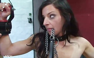 Anal Pussy Fisting with Car-card in Slave Girl's Pussy
