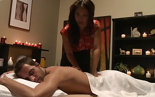 Disconcerted Asian combined seductive massage with insane sex