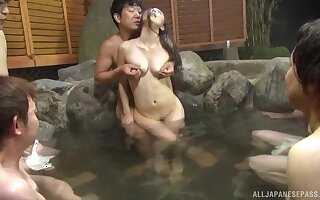 Surprising fucking in the public pool with a cum loving Asian unladylike