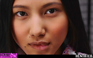 Real Life Hentai -  May Thai whirl huge dildo & Creampie