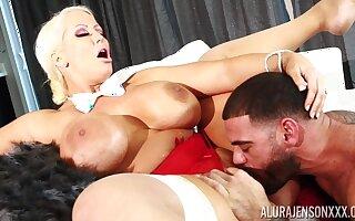 Big ass blonde mature AJ gets cum - zooid boobs