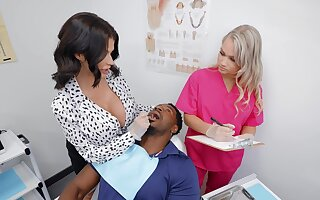 Black man puts his giant dick at hand cunts be required of Joslyn James and Harley King