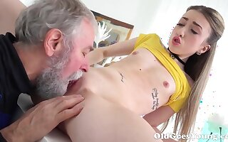 Old Goes Young - Lovely Vlada splits open her long legs